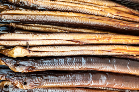 Smoked eels freshly prepared and ready to eat.