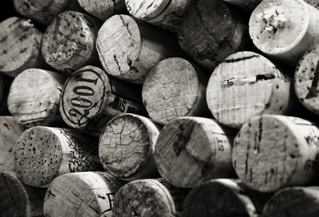 Black and white stack of wine bottle corks Stock Photo - 418658