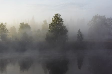 Morning mist along the river Stock Photo - 550553