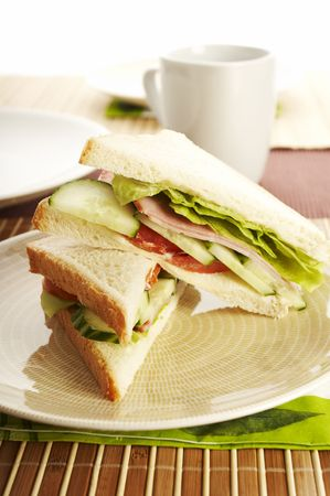 Breakfast sandwhich on the plate Stock Photo - 557941