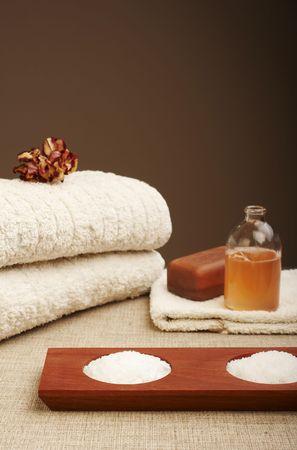 Bath items (soap, shampoo, bath salt, towel)