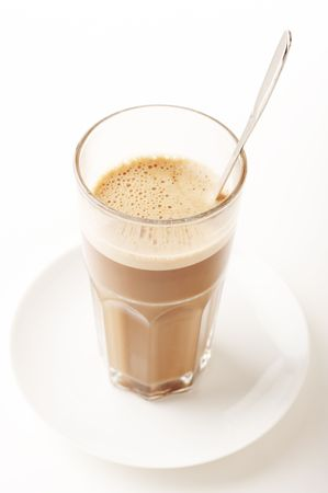 Close-up of a Glass of Hot chocolate with foam