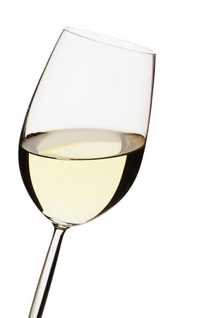 dring: Close-up of a white wine glass on white bacground Stock Photo