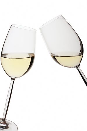 Pair of isolated white wine glasses on white bacground