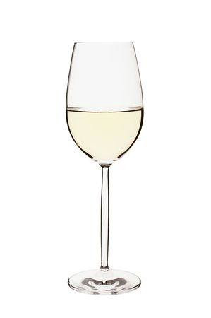 white wine glass: Close-up of a isolated white wine glass on white bacground Stock Photo