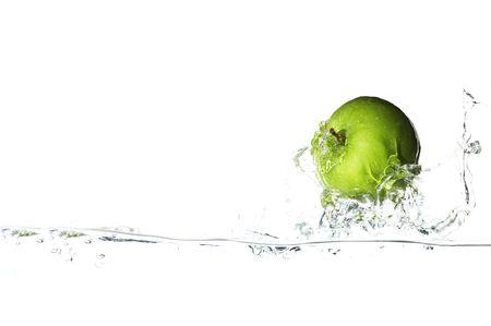 granola: Aislado verde manzana navegar en la gran ola