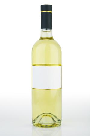 Isolated white wine bottle on white background photo