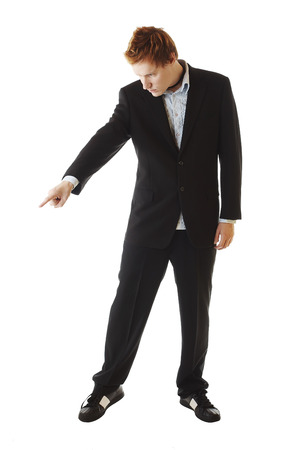 businessman pointing down with the finger Stock Photo