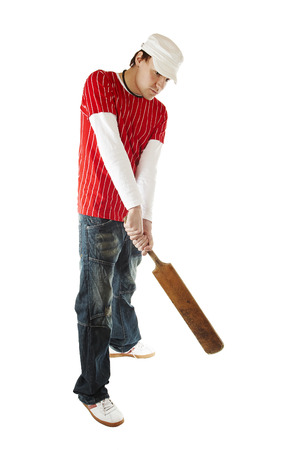 Isolated cricket player with bat
