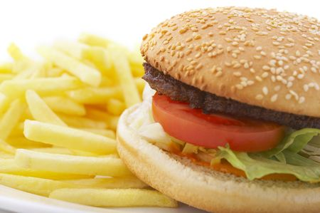 hamburger and french fries on the plate over white background Stock Photo