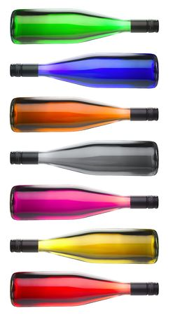 Isolated colorful wine bottles over a white background photo