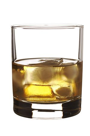 drunks: Isolated single malt whiskey with ice cubes