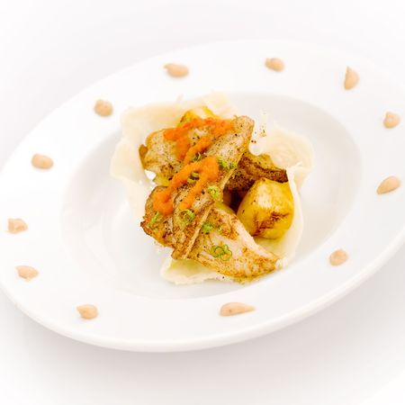 White fish and pinapple with peanut and pepper dressing photo