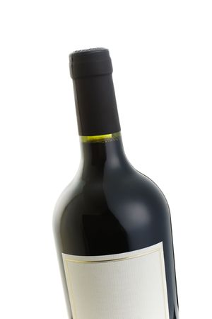 Isolated red wine bottle with over a white background Stock Photo - 2379810