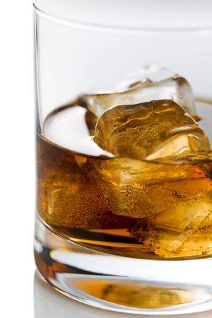 drunks: Whiskey on the rocks on the white background Stock Photo