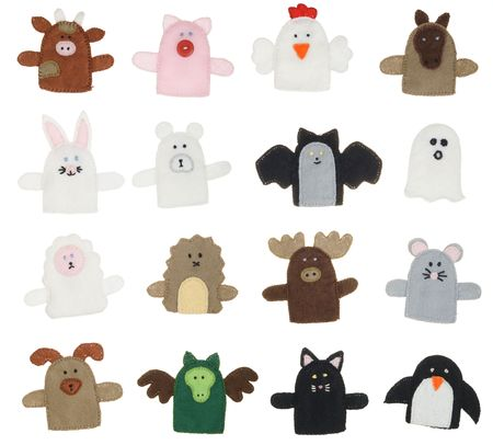Isolated collection of different finger puppets ( animals )