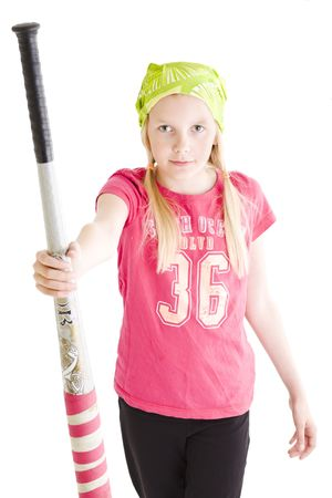 Isolated young girl giving softball bat to team mate Stock Photo