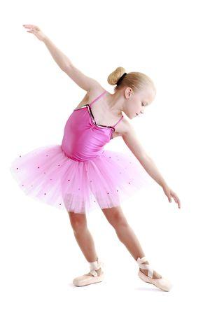 ballerini: Giovane ballerina ballerina su uno sfondo bianco  Archivio Fotografico