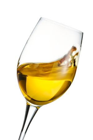 Isolated moving white wine glass over white background Stock Photo