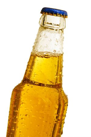 Clear beer bottle over the white background