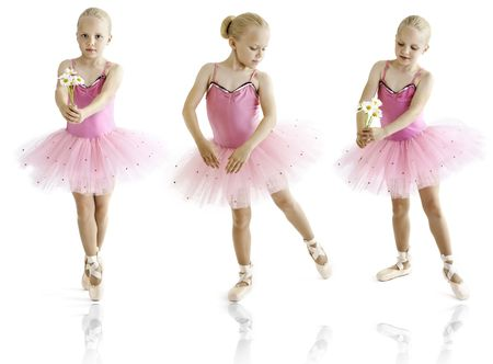 Young ballerina dancer over a white background
