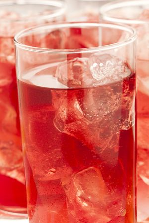 ices: Chilled red beverage with ices on the tall glass Stock Photo