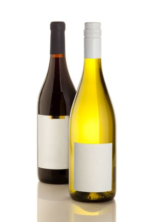 High resolution shot of red and white wine bottles (empty labels) photo