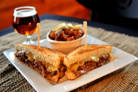 prime rib: Prime Rib Sandwich with German Potato Salad