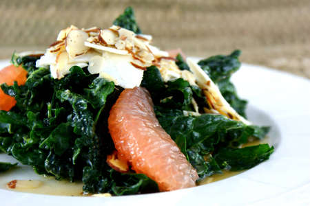 Kale salad with shaved toasted almonds