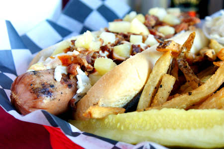 Grilled Hot Dog - grilled half-pound foot long hot dog topped with bacon, slaw, pineapple chunks, and BBQ sauce  Imagens