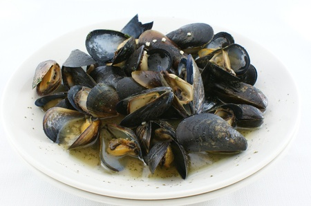 Cooked Mussels in white wine sauce Imagens