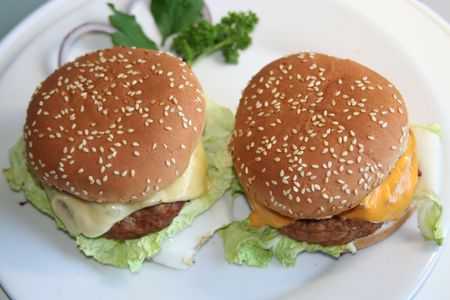 menue: two cheeseburgers seen from top Stock Photo