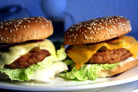 menue: two cheeseburgers Stock Photo