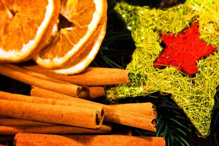 cinammon: christmas decoration with spices Stock Photo