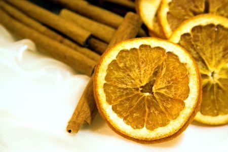 cinammon: dried oranges and cinammon Stock Photo