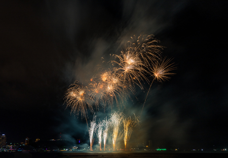 The showing of colorful firework in the international firework festival in Pattaya.