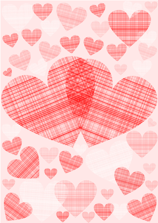 Background with different patterned hearts in red photo