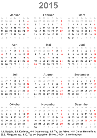 Calendar 2015 for Germany with holiday marking and holiday dates Vector