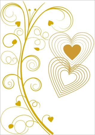 convalescence: A Greeting card with flourish pattern and hearts in rings in gold on white background Illustration
