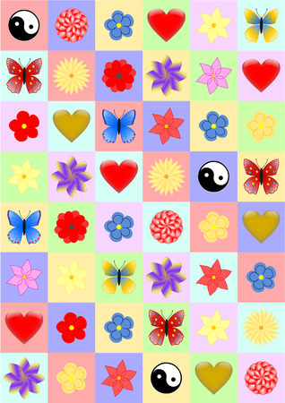convalescence: Background colorful rectangles with various objects such as hearts, ying yang sign, butterflies and flowers for different occasions