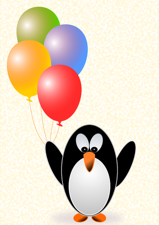 convalescence: A greeting card with a penguin with colorful balloons for different occasions