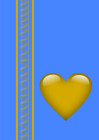 A greeting card with a big golden heart on blue and a golden zigzag pattern between two golden stripes on the left side photo