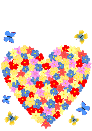 A background or greeting card with a heart shaped of colorful flowers and butterflies photo