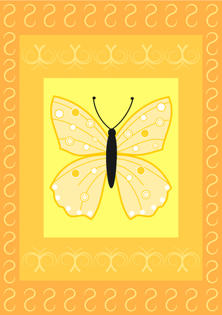 A butterfly on yellow, orange rectangles with a flourish pattern photo