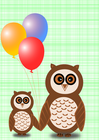 convalescence: Two owls, a big and a small one, with colorful balloons on a light green plaid background Stock Photo