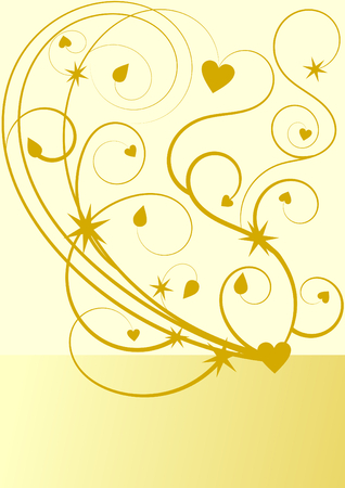 convalescence: Gold flourish pattern with stars and hearts with a large text box for your text