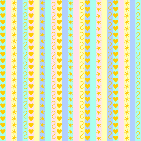 pastel like: Pastel stripes with various golden patterns like hearts, stars and flourish