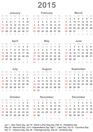 Calendar 2015 marked with the official holidays for the USA.  The week starts on Sunday  Ilustração