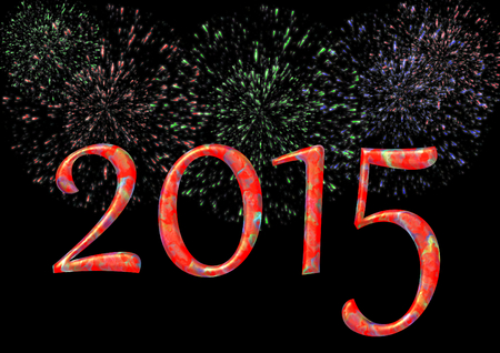 s eve: Colorful 2015 with firework on black Stock Photo