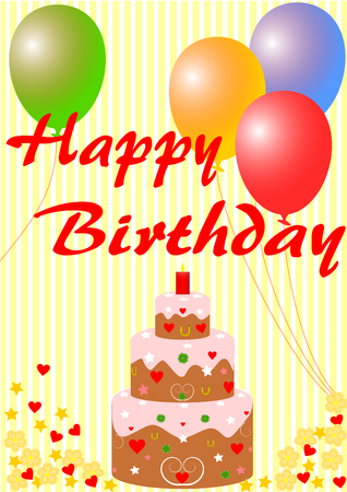 Happy birthday card with a birthday cake and balloons on yellow striped background photo
